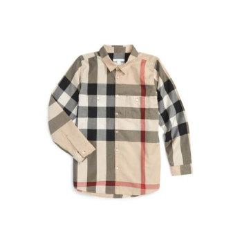 버버리 보이즈 체크 셔츠 $150 → $120