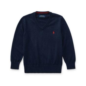 폴로 랄프로렌 보이즈 코튼 브이넥 스웨터 $59.5 → $16.79
