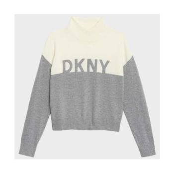 DKNY 컬러블록 로고 반폴라 스웨터 $99 → $63.2