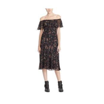 폴로 랄프로렌 우먼 실크 오프숄더 드레스 $398 → $95.99
