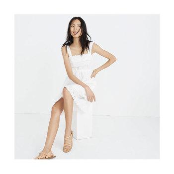메이드웰 아일렛 티어드 미디 드레스 $168 → $97.65