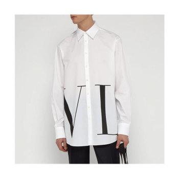 (정우성 착용) 발렌티노 맨 오버사이즈 로고 프린트 코튼 셔츠 $600