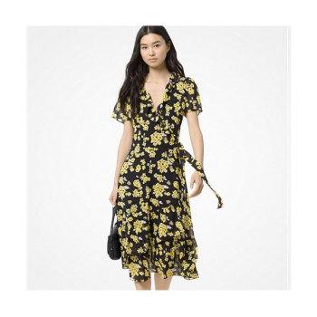 (윤아 착용) 마이클 마이클 코어스 플로럴 조젯 러플 랩 드레스 $175