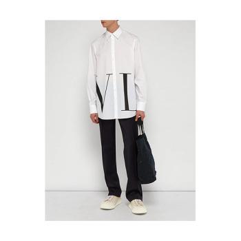 (정우성 착용) 발렌티노 맨 오버사이즈 로고 프린트 코튼 셔츠 $577 → $490.7