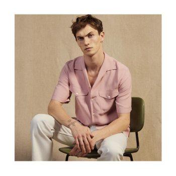 (헨리 착용) 산드로 맨 핑크 반팔 셔츠 $220 → $154