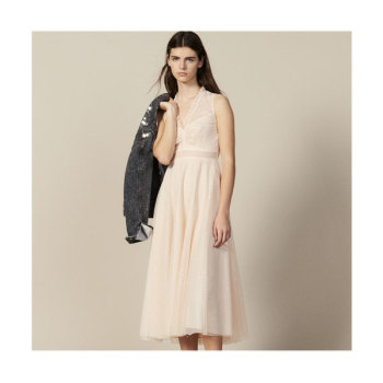 (트와이스 나연 착용) 산드로 롱 자수 튤 드레스 365유로