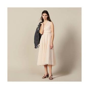 (트와이스 나연 착용) 산드로 롱 자수 튤 드레스 $545→ $408.75