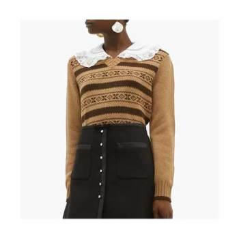 (공효진 착용) 미우미우 컨트라스트 카라 카멜 스웨터 $1,183 → $1,006.06