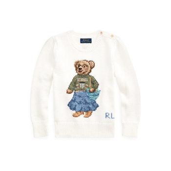 폴로 랄프로렌 걸즈 산타페 베어 코튼 스웨터 $135 → $72.09