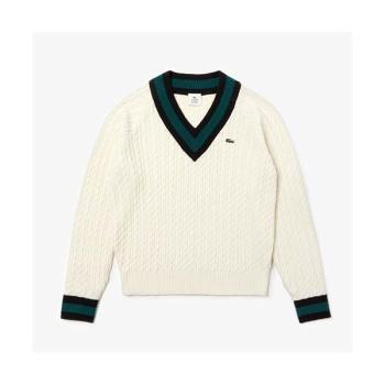 (아이즈원 안유지 착용) 라코스테 케이블 니트 울 블랜드 스웨터 $145