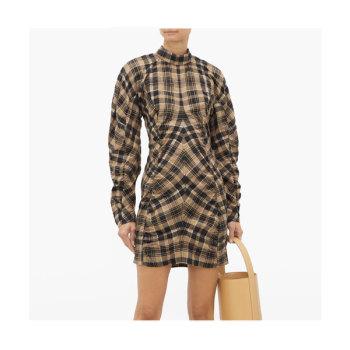 (한혜연 착용) 가니(GANNI) 체크 코튼블렌드 미니 드레스 $218 → $130