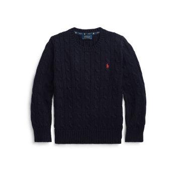 폴로 랄프로렌 보이즈 케이블 니트 코튼 스웨터 $49.5→ $16.79
