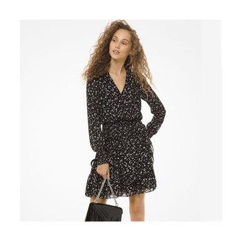 마이클 마이클 코어스 펄 프린트 조젯 러플 랩 드레스 $155 → $69.75
