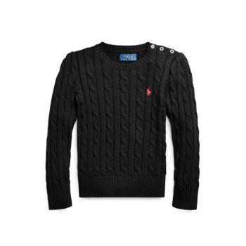 폴로 랄프로렌 걸즈 케이블 니트 코튼 스웨터 $49.5 → $14.99