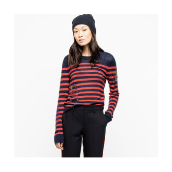 쟈딕 앤 볼테르 DELLY 캐시미어 스트라이프 스웨터 $398 → $119.4