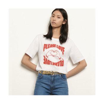 (오정연 착용) 산드로 오가닉 코튼 티셔츠 $100 → $60