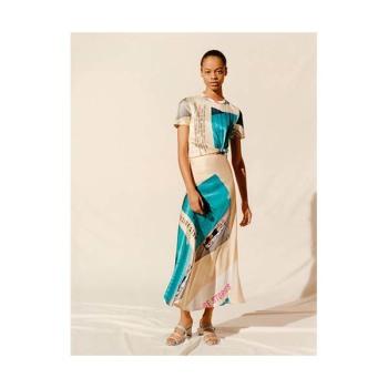 (산다라박 착용) 마쥬 220RIPOOL 프린트 사틴 스카프 드레스 $415