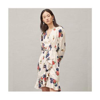 토리버치 프린트 실크 랩 드레스 $598 → $186.75