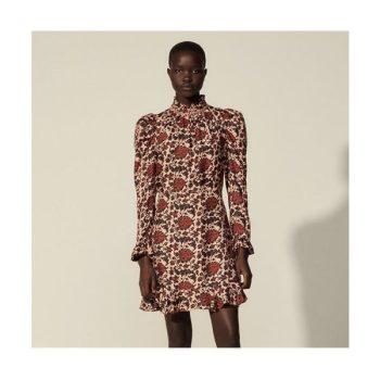 (손담비 착용) 산드로 실크 혼방 프린트 드레스 325유로