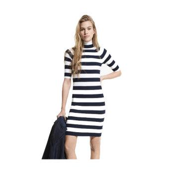 (손담비, 벨라 하디드 착용) 마이클 마이클 코어스 스트라이프 터틀넥 드레스$165