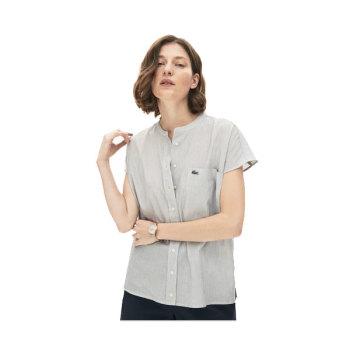 라코스테 우먼 린넨 블렌드 스트라이프 셔츠 $135 → $66.99