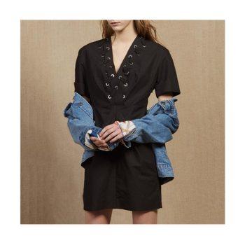 (이진 착용) 산드로 인터우븐 아일릿 드레스 $520 → $92.5