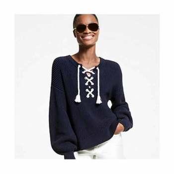 (월간 집 정소민 착용) 마이클 마이클 코어스 수피마 레이스 업 스웨터 $225→ $67.5