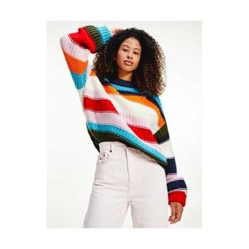 (화사 착용) 타미 진스 우먼 컬러 블럭 스트라이프 스웨터 $119 → $71.4